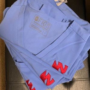 Figs, ceil Blue, size L (4 sets, tops embroidered)